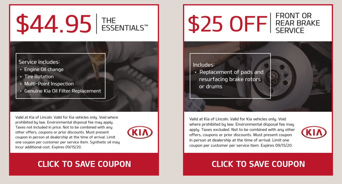 KIA service coupons Lincoln NE
